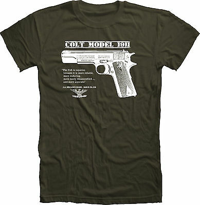 Original US Army Colt 45 1911 Pistol WWII / WWI T Shirt  trigger safety grips