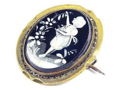 ANTIQUE VICTORIAN ENGLISH HAND PAINTED MOURNING BROOCH PIN c1860