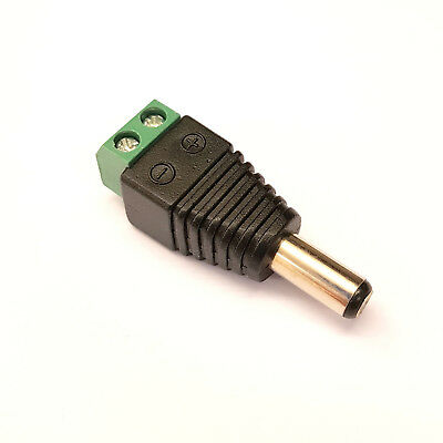 YELLOW SPRING TIP MALE 2.1MM X 5.5MM DC POWER CONNECTOR for CCTV//REPAIRS