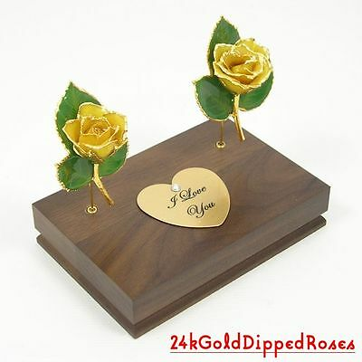 "Two 3"" 24k Gold Dipped Yellow Roses & Stand (Free Anniversary Gift Box)"