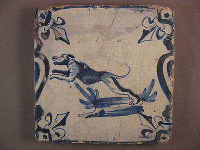 Antique Dutch Delft Tile jumping Dog rare 17th.century  -- free shipping