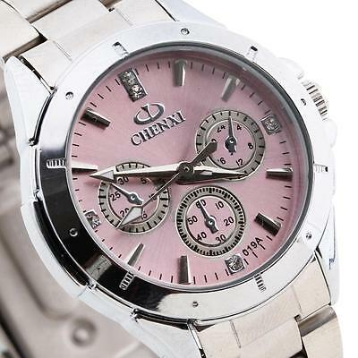 Montre Mouvement Quartz Bracelet en Acier Strass Rose Watch Femme