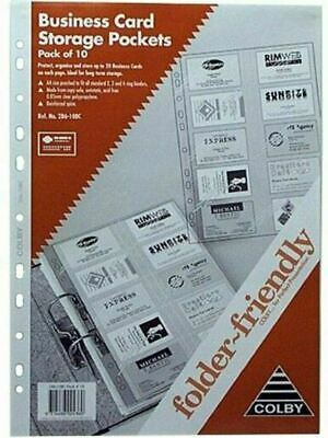 Colby Business Card Binder Pocket Refill 20 Cards Per Page 10/Pack 28610BC