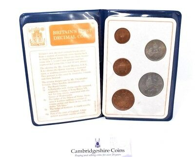 Britains First  Decimal Coin Set Of Uncirculated Coins In Wallet