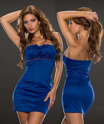 7feae78cfa7d00 Edles Bandeau Abendkleid Minikleid Party Kleid Dress Disco Royalblau 34 36  38