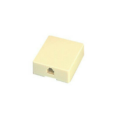 Eagle Phone Surface Mount Jack Ivory Modular 4-Conductor RJ11 Block Cover UL
