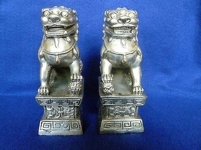 "Antique 1900-1940 Chinese Silvered Bronze Foo Dogs Pair,Pedestals - 5.75"" H"