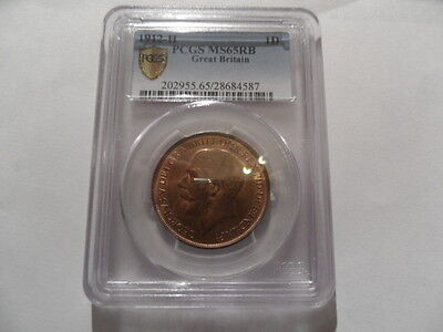 Britain 1912H Penny- Joint Finest Ever Graded By The PCGS - MS65 RB!!!
