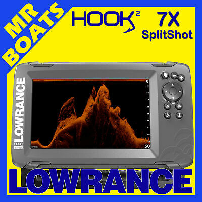 LOWRANCE HOOK2 7X FISHFINDER - GPS SplitShot Trans Fish Finder Hook 2 FREE POST
