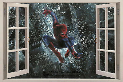 Spider Man 3D Window View Removable Wall Art Stickers Kids Decal Decor Art Mural