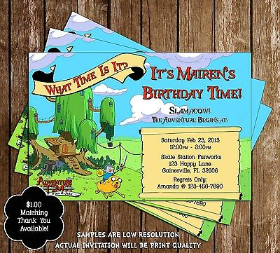 Adventure Time Birthday Party Invitations - 15 Printed W/envelopes