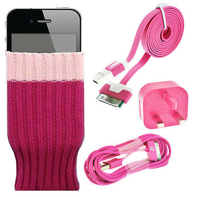 Pink - Sock cover wall mains charging adapter 2 USB data sync cable for iPhone