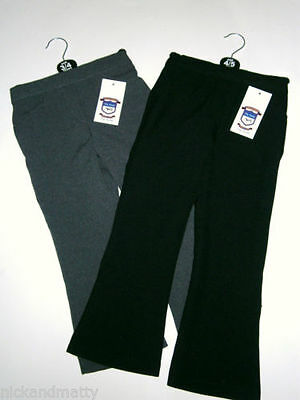 Girls Tru Form School Trousers Black Grey Half Elastic Pull On 2-16 Years