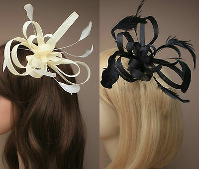 Large Comb Feather Fascinator Ladies Day Wedding Races Royal Ascot  18