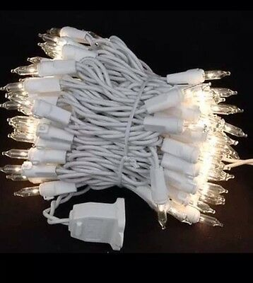 100 clear mini lights white wire string wedding Christmas bulbs indoor/outdoor