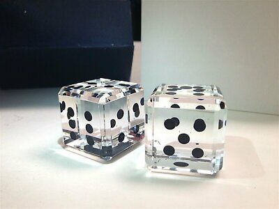 "1"" inch Crystal Pair of Dice Paperweight Black Dots Includes Gift Box"