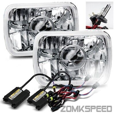7x6 H6054 Chrome Semi Seal Beam Projector Headlight/6000K H4-2 Xenon HID Kit
