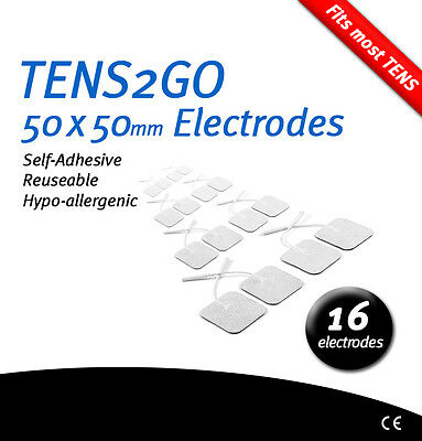 16 Self-Adhesive Electrode Pads for TENS & EMS – High Quality CE Marked 50x50mm