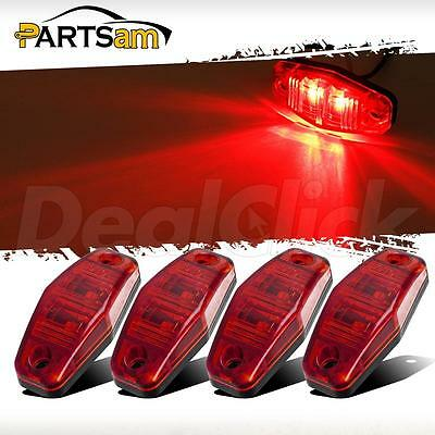 4pcs LED Light 2 Diode RED Universal Surface Mount Clearance Side Marker Trailer