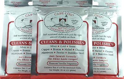 3 PACKS CAPE COD METAL POLISH CLOTHS (2 per pack) Polishing Cloths