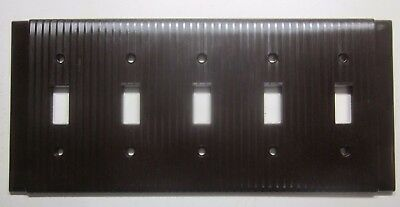 1 Vintage Rare Uniline Ribbed Brown Bakelite 5 Gang Switch Plate Cover Art Deco