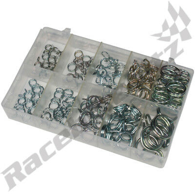 100 x Double Wire Clamps In Box 7-11mm Spring Band Fuel Hose Clips Silicone Tube
