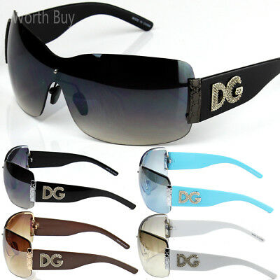 New Womens DG Sunglasses Designer Shades Fashion Black White Large Wrap One Lens