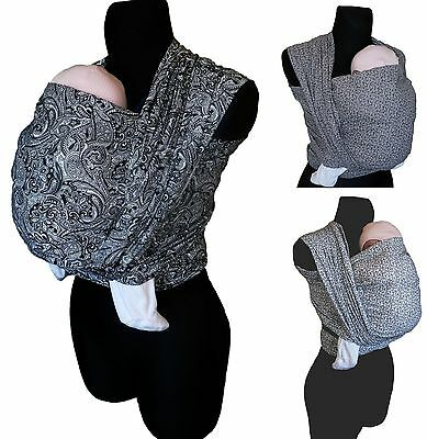 PAISLEY MONOCHROME ORIGINAL BABY SLING WOVEN 100% COTTON WRAP CARRIER  BIRTH