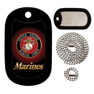 Military Dog Tags - Custom Embossed Tag Set - U.S. Marines w/ Silencers