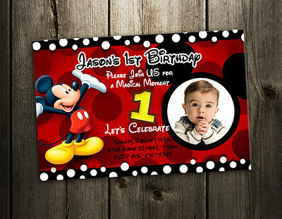 Mickey Mouse Birthday Invitation Party Card Photo Invites 1st N4 9