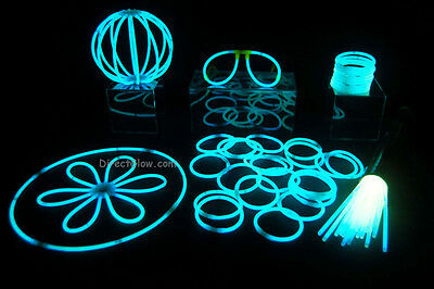 "50- 8"" White (Tinted Blue) Glow Stick Bracelets Party Pack"