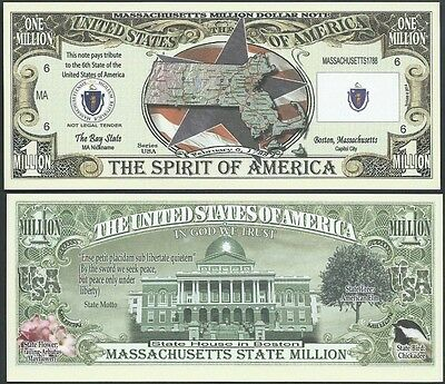 Lot of 500 - MASSACHUSETTS STATE MILLION DOLLAR BILL w MAP, SEAL, FLAG, CAPITOL