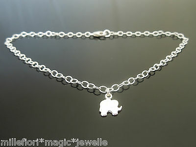 3mm Sterling Silver Bracelet Or Ankle Chain Anklet Elephant Charm, Choose Length