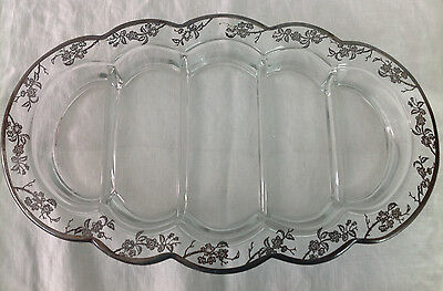 """Vintage Silver Overlay 5 Part Relish or Candy Dish Art Deco 13"""" x 8"""" x 1"""" Deep"""
