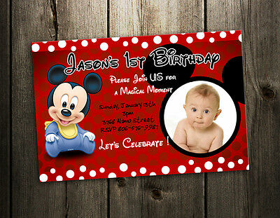 Mickey Mouse Baby Birthday Invitation Party Card First Invite 1St - 9 Designs !