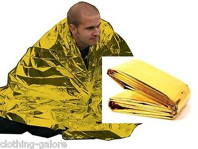 Large Thermal Emergency Blanket Mens Womens Gold Camping Rescue First Aid Warmth