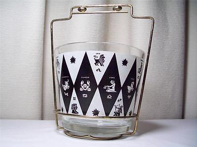 Vintage Ice Bucket Glass Zodiac Astrology with Metal Stand 1960 1970's Complete