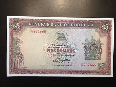 Reproduction $5 Reserve Bank Of Rhodesia 1978 Giraffe & Lion Zimbabwe Copy