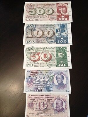 Reproduction Switzerland 10,20,50,100,500 Franken BankNotes1960s,70s Money Swiss