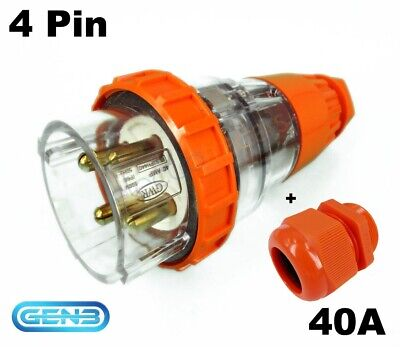 GWR 40 AMP 3 Phase 4 Pin Round Straight Plug Top
