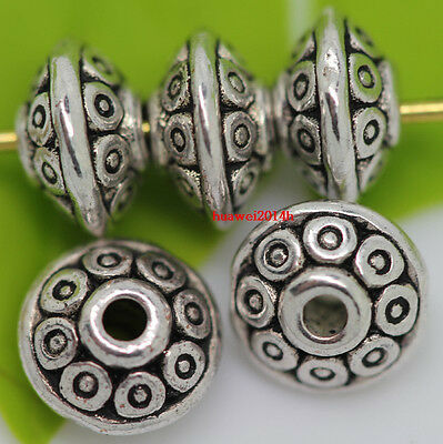 100pcs beautiful Tibet Silver Jewelry Findings Charm Spacer Beads 7x4mm