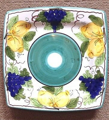 Vietri Pottery-8 Inch Serving Plate Sorrento Patt.Made/painted by hand in Italy