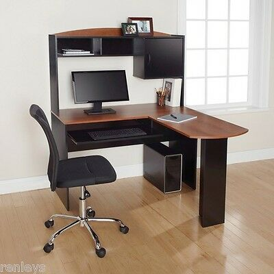 New Computer Desk & Chair Corner L-Shape Hutch Ergonomic Study Table Home Office