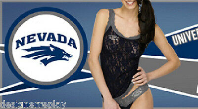 Hanky Panky UNR Nevada Reno WOLF PACK Navy Grey Lace Camisole L & Low Rise Thong