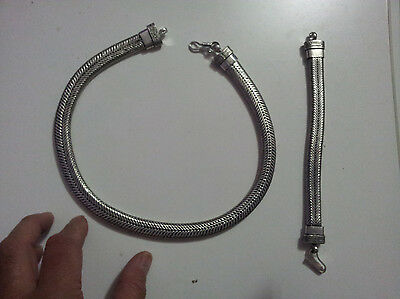 bagno argento indiano bracciale 100 gr snake  necklace 20 CM  indian silver