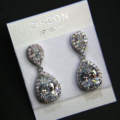 Shiny Teardrop Cubic Zirconia Crystal Cluster Wedding Bridal Prom Earring UK New