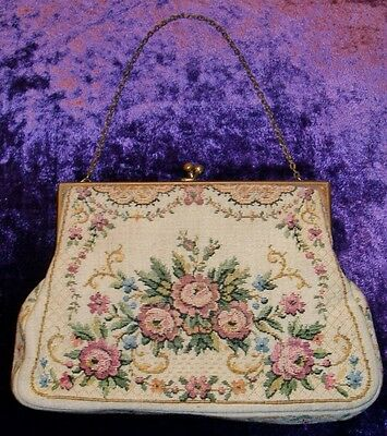 Antique Victorian Floral Petit Point Needlepoint Embroiderd Copper Handbag Purse