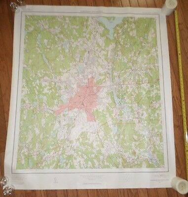 Fantastic, very large colored map of Worcester (1953) Scarce!