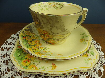 ROYAL WINTON YELLOW MORN TRIO CUP SAUCER SQUARE PLATE