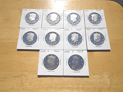 1980 81 82 83 1984 1985 1986 1987 1988 1989 S Proof Kennedy Half 10 Coin Set Lot